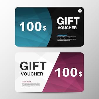Blue Purple Gift Voucher Modèle Avec Motif Vecteur gratuit