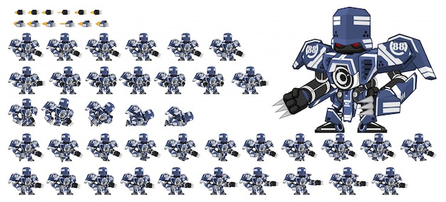 Blue robot game sprite