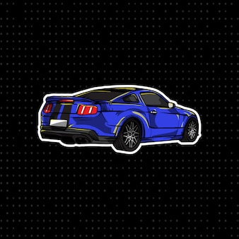 Blue sports coupe hand drawn