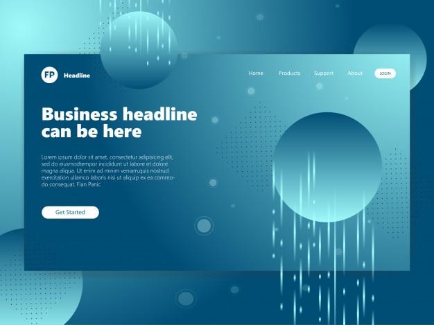 Blue tech landing page modèle de site web de fond