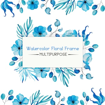 Blue watercolor floral frame multipurpose