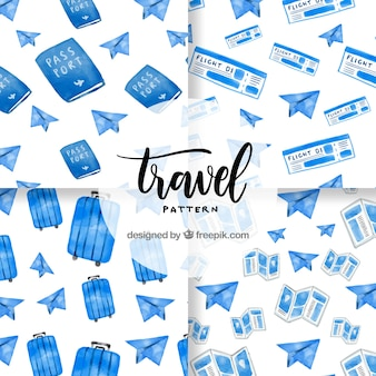 Blue watercolor travel elements pattern
