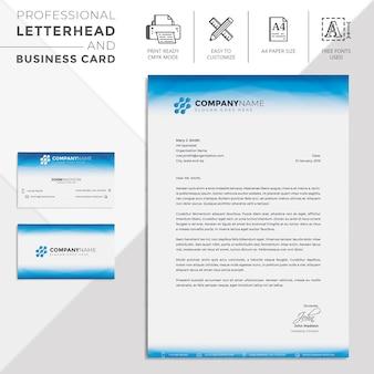 Blue waves abstract lines business papier à en-tête et cartes de visite