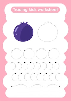 Blueberry - feuille de travail pratique d'écriture et de dessin de lignes de trace pour les enfants