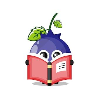 Blueberry lisant un livre mascotte de personnage mignon
