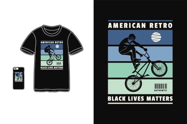 Bmx rétro américain, style de silhouette de conception de t-shirt