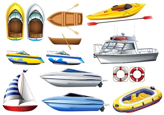 Boats de différentes tailles d'illustration