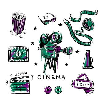 Bobine de pop-corn de caméra de film vintage avec un croquis de bande sur un fond blanc isolé définir le cinéma