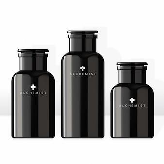 Bocal et bouchon pour cosmétiques cosmétique beauté soins capillaires santé soins de la peau spa essence en noir noir style conochrome moderne