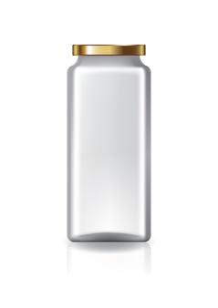 Bocal carré transparent avec couvercle en or de grande taille.