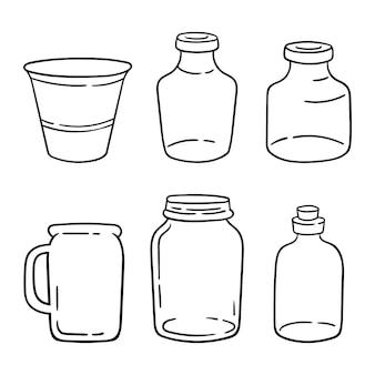 Bocal de cuisine mason clipart bundle bouteilles en verre noir et blanc articles isolés sur fond blanc