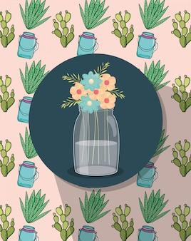 Bocal de fleurs mason étiquette décoration pots et fond de cactus