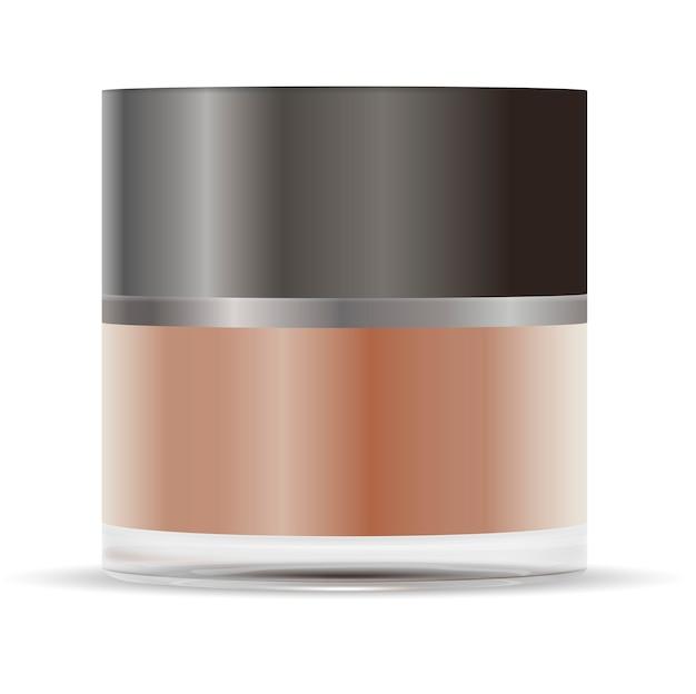 Bocal en verre rond brun avec couvercle en plastique gris mat