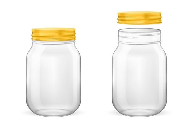 Bocal en verre vide réaliste pour la mise en conserve et la conservation avec couvercle doré ouvert et fermé en gros plan i