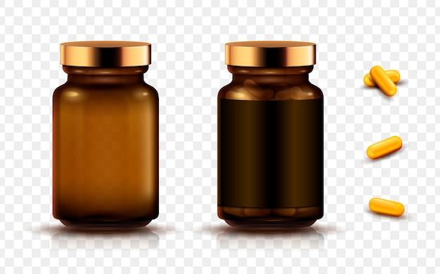 Bocaux et capsules de médicaments, fond transparent isolé