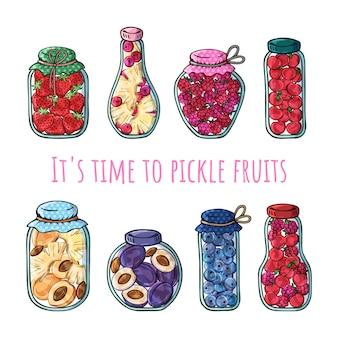 Bocaux de vecteur de fruits en conserve.