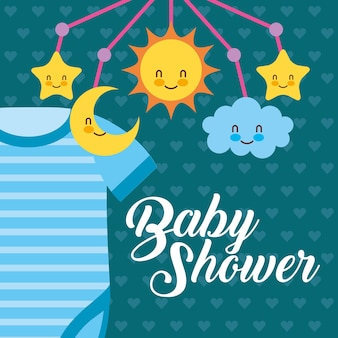 Body bleu et berceau mobile carte de douche de bébé