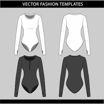 Body avec vue avant et arrière à manches longues, modèle de croquis plat mode