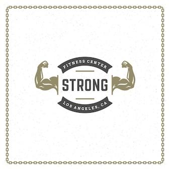 Bodybuilder mains logo ou insigne illustration mâle biceps silhouette symbole