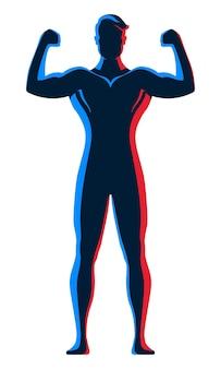 Bodybuilder masculin debout et posant avec les bras avec un éclairage de contour au néon rouge et bleu sur son corps