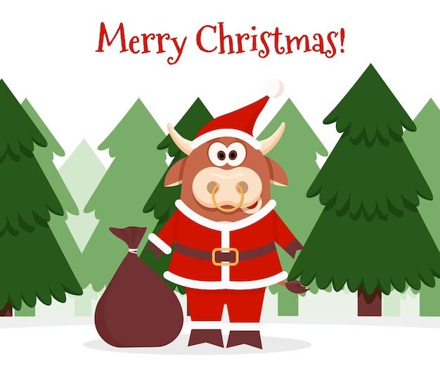 Bœuf de dessin animé avec des cadeaux carte de voeux de bonne année