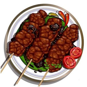 Boeuf satay sate daging indonésie aliments apéritif plat facile style servi avec sauce chili