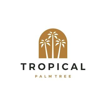 Bohème palmier niche porte logo icône vector illustration