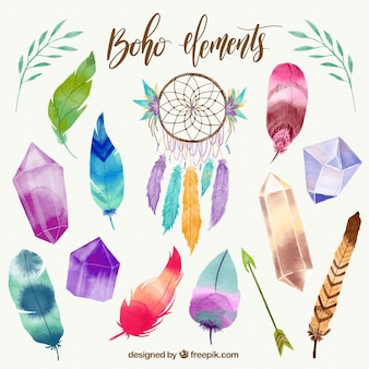 Boho collection d'éléments d'aquarelle