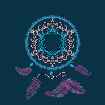 Boho dream catcher illustration