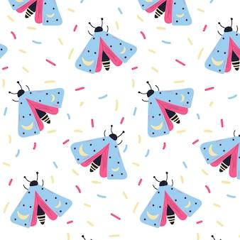 Boho est un papillon ésotérique. modèle vectoriel sans couture. illustration vectorielle isolée. le style de dessin de griffonnages.