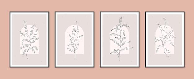 Boho feuillage botanique ensemble de vecteurs d'art mural minimal et naturel