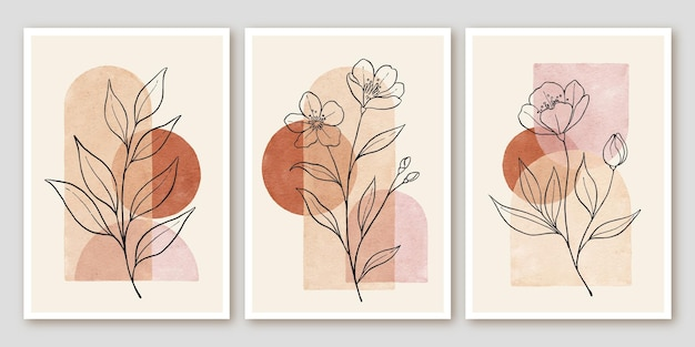 Boho floral abstrait moderne laisse une affiche dessinée à la main au milieu du siècle