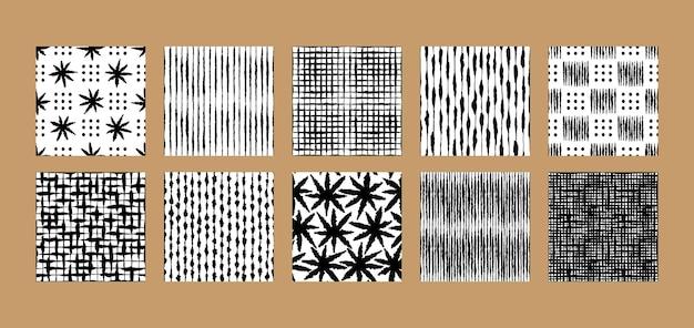 Boho hand drawn encre seamless patterns det