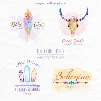 Boho logos chics conception