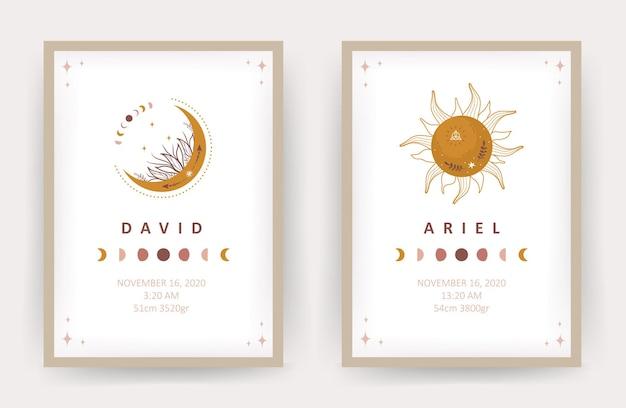 Boho lune et soleil. affiches avec le nom de l'enfant.