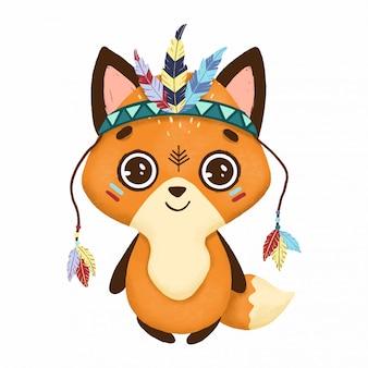Boho mignon petit renard avec des plumes sur fond blanc