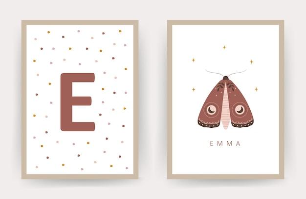 Boho papillon. affiches avec nom d'enfant.