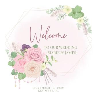 Boho signe de mariage de bienvenue