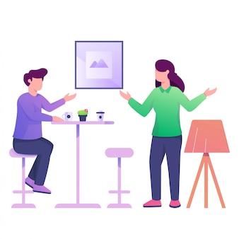 Boire un café avec illustration de petite amie