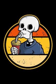 Boire du crâne illustration rétro vintage