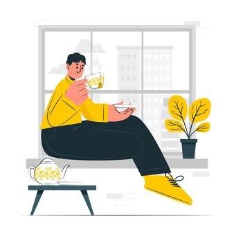 Boire du thé concept illustration