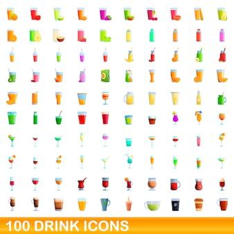 Boire des icônes définies. bande dessinée illustration d'icônes de boisson sur fond blanc