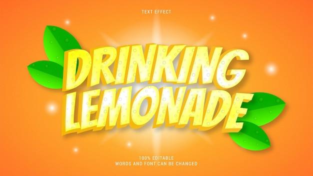 Boire de la limonade effet de texte modifiable vecteur eps cc