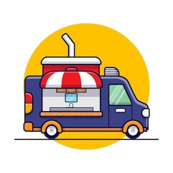 Boire de la nourriture camion dessin animé icône illustration