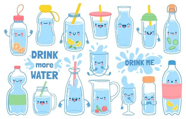 Boire plus d'eau. bouteilles, verre et cruche avec des visages drôles de bande dessinée. eaux détox au citron et à la menthe. motivation pour l'ensemble de vecteurs d'habitudes de santé. bouche souriante sur des conteneurs avec pailles et capuchon
