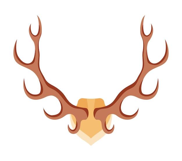 Les bois de cerf sont un trophée de chasseur en style cartoon