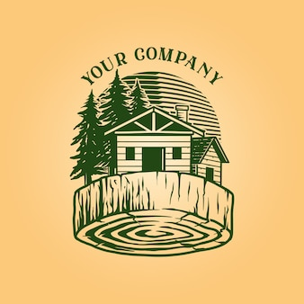 Bois de construction log house logo vintage wood