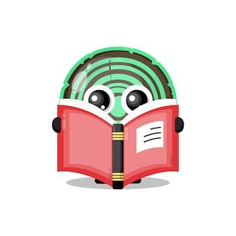 Bois lisant une mascotte de personnage mignon de livre