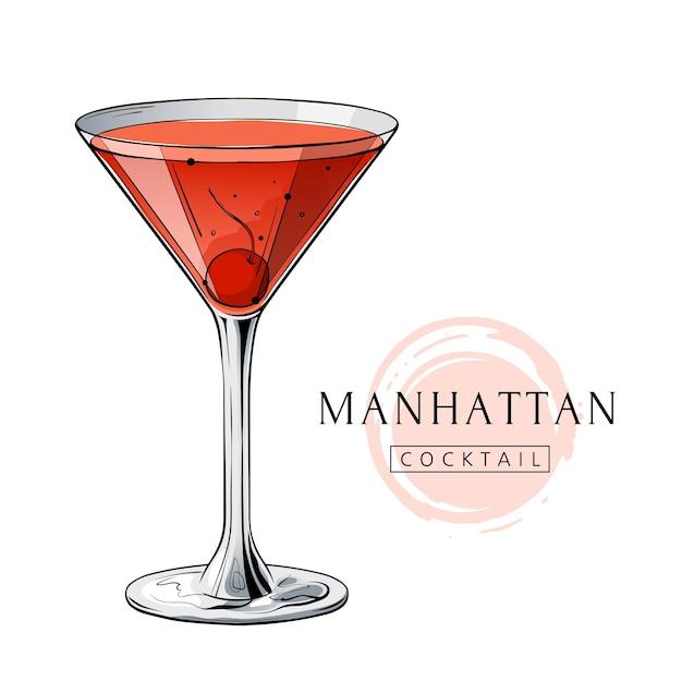 Boisson D'alcool Tirée Par La Main De Cocktail De Manhattan Avec La Cerise Vecteur Premium