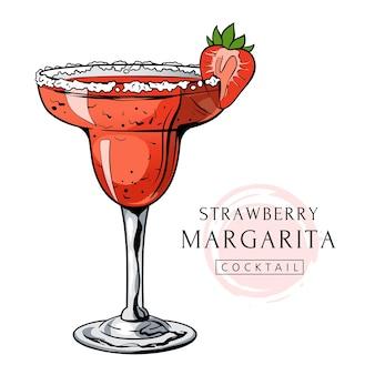 Boisson d'alcool tirée par la main de cocktail de margarita de fraise avec la baie et le sel